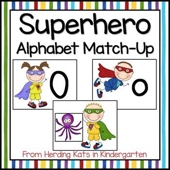 Super Hero Themed Alphabet Match-Up