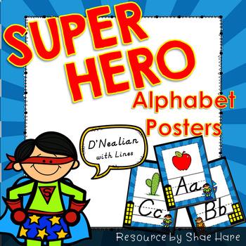 Super Hero Themed Alphabet Posters Handwriting DNealian anchor chart guide
