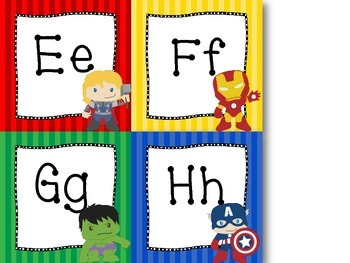 Super Hero Themed Alphabet Word Wall Letters {Bright Primary Stripes}