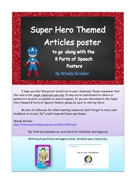 "Super Hero Themed ""Articles"" Poster"