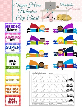 Super Hero Themed Behavior Clip Chart