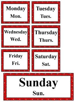 Super Hero Themed Calendar Set