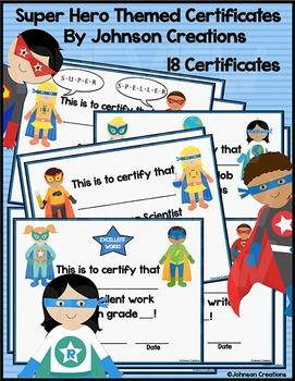 Super Hero Themed Certificates