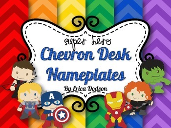 Super Hero Themed Chevron Desk Nameplates