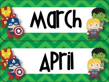 Super Hero Themed Classroom Calendar Set {Bright Primary Chevron}