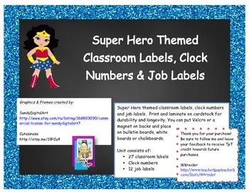 Super Hero Themed Classroom Labels
