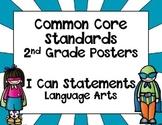 Super Hero Themed Common Core Standards Posters - Language Arts-Second Grade