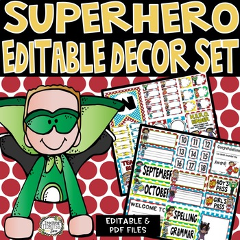 Superhero Themed Classroom Decor Editable