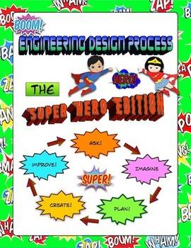 Super Hero Themed - Engineering Design Process Poster Set - Set of 5