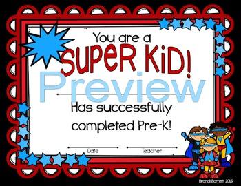 Graduation Certificates Super Hero Theme
