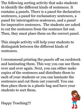 Super-Hero Themed Kind of Sentences Sorting Center Activity