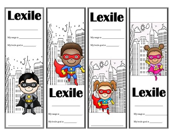 Super Hero Themed Lexile Bookmarks