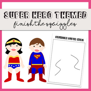 32 Super Hero Themed Finish the Squiggles