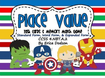 Super Hero Themed Place Value Task Cards Memory Match Game