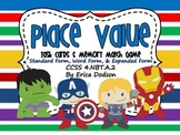 Super Hero Themed Place Value Task Cards & Memory Match Game