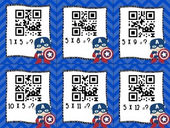 Super Hero Themed QR Code Multiplication Facts Flashcards