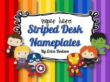Super Hero Themed Striped Desk Nameplates