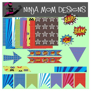 Super Hero Themed Washi Tape Clip Art- 54 Images