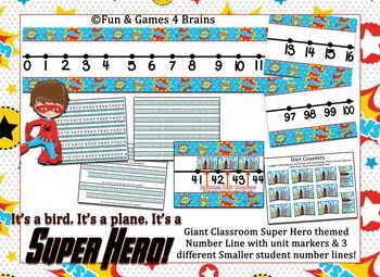 Super Hero Themed number line 0-100