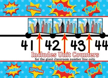 Giant Super Hero Classroom number line and Individual Student number lines