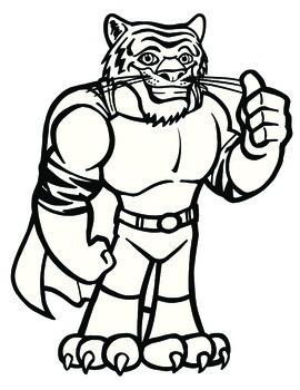 Super Hero Tiger Mascot