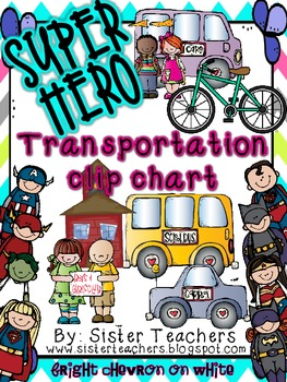 Super Hero Transportation Clip Chart *Bright Chevron on White*