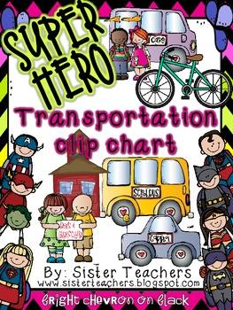 Super Hero Transportation Clip Chart *Bright Chevron on Black*