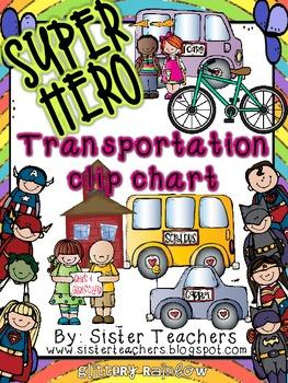 Super Hero Transportation Clip Chart *Glittery Rainbow*