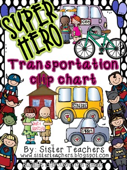 Super Hero Transportation Clip Chart *Polka Dots*