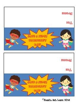 Super Hero Valentine's Day Treat Bag Topper