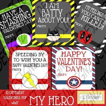 Super Hero Valentines, Marvel Inspired valentines, valentines day