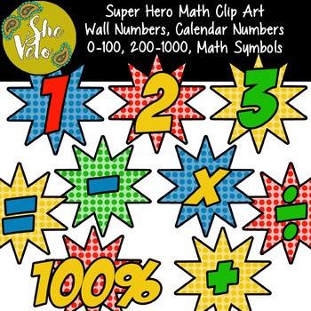 Super Hero Wall Numbers 0-100, Calendar Numbers, Math Symbols, Clip Art