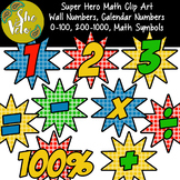 Super Hero Wall Numbers 0-100, Calendar Numbers, Math Symb