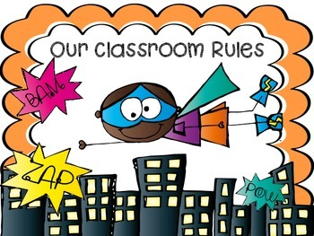 Super Hero Whole Brain Classroom Rules FREE