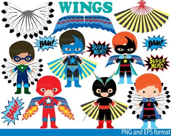 Super Hero Wings Clip Art school halloween decor comic birthday invitation -115-