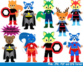 Super Hero Woodland Clip Art school halloween forest animals birthday boy -132-