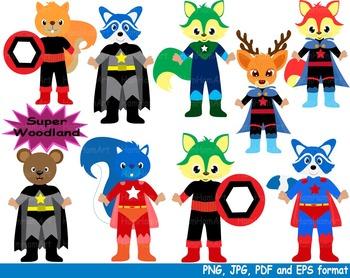 Super Hero Woodland Clip Art school halloween forest animals birthday boy -132-