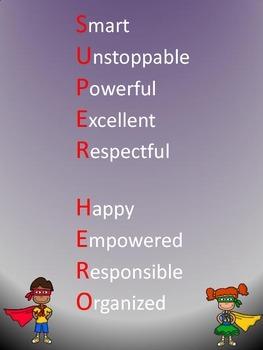 Super Hero Word Poster