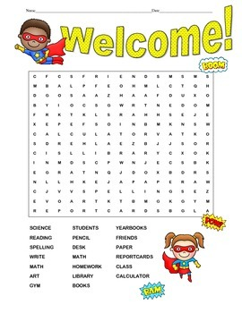 Super Hero Word Search
