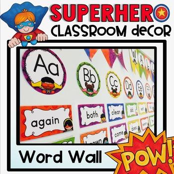 Word Wall in a Superhero Classroom Decor Theme
