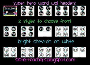 Super Hero Word Wall Headers {Bright Chevron on White Background}