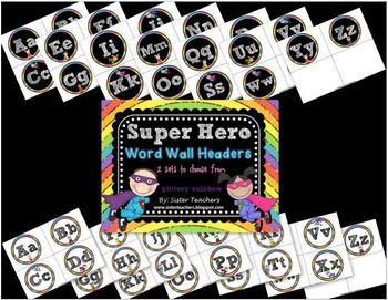 Super Hero Word Wall Headers {Glittery Rainbow}