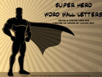 Super Hero Word Wall Letters (Turquoise and Lavender)