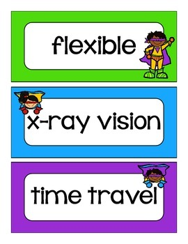 Super Hero Word Wall Words
