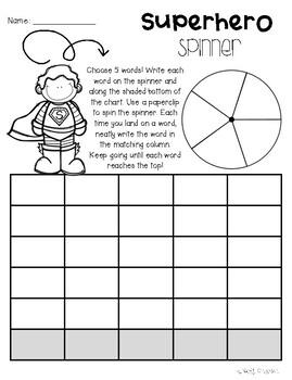 No Prep Superheroes Word Work - Word Study / Spelling / Sight Words