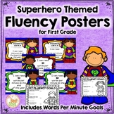 Fluency Posters: Words Per Minute 1st Grade Posters Superhero Themed