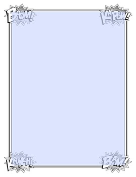 Super Hero Words - full and quarter page borders and JPGs