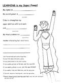 Super Hero Worksheet / Color sheet, glyph Grades 1 -5 Your