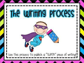 Super Hero Writing Process Clip Chart *bright chevron on black*