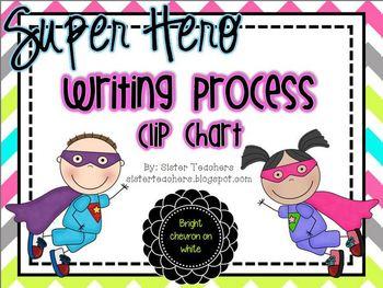 Super Hero Writing Process Clip Chart *bright chevron on white*